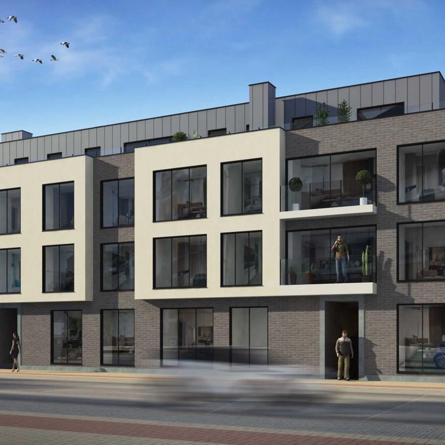 Project bestaande uit 18 appartementen met tuin, terras, kelders en parking.